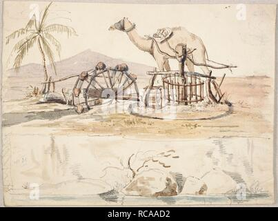 Raising water from the Indus. Personal Observations on Sindh. 1830-1845. Raising water from the Indus. No.36. Camel and Persian wheel. Pencil, pen and ink and wash, watercolour, oil and pastel..  Image taken from Personal Observations on Sindh.  Originally published/produced in 1830-1845. . Source: WD 485, f.7v. Author: POSTANS, THOMAS. - Stock Photo