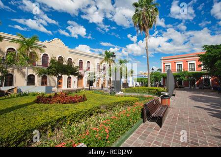 Mazatlan, Mexico-10 December, 2018: Mazatlan Old City central plaza in historic city center - Stock Photo
