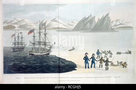 Prince Regents Bay. A Voyage of Discovery, made under the orders of th. J. Murray: London, 1819. First communication with the Natives of Prince Regents Bay, as drawn by Iohn Sackheouse and presented to Capt. Ross, Augt.10. 1818'.  Image taken from A Voyage of Discovery, made under the orders of the Admiralty, in his Majesty's ships Isabella and Alexander for the purpose of exploring Baffin's Bay, and enquiring into the possibility of a North-West Passage.  Originally published/produced in J. Murray: London, 1819. . Source: 981.g.23, opposite 88. Language: English. - Stock Photo