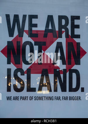 We are not a island HSBC Bank Poster, Accused of Being Pro Brexit, Advertisement, Reading Berkshire, England, UK, GB. - Stock Photo