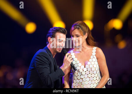 Andrea BERG, Germany, singer, Schlagersaengerin, musician, Florian SILBEREISEN, Germany, Saenger, Schlagersaenger, musician, presenter, singing, singing, concert, performance, show, 'Schlagerchampions - the big festival of the best' on 12.01.2019 in the Velodrom Berlin , Usage worldwide - Stock Photo
