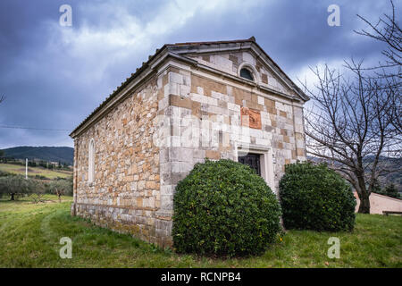 The church of Saint Joseph from Ripa (San Giovanni da Ripa) of the parish of Castellina Marittima, province of Pisa, Tuscany - Stock Photo
