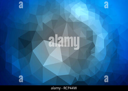 Irregular abstract triangle low polygon background in shades of blue color gradient. - Stock Photo