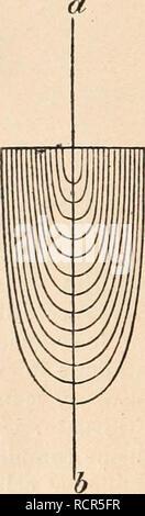 . Dictionnaire de physiologie. Physiology. 125 DIOPTRIQUE OCULAIRE. parallèles à l'axe (lignes pleines) lui seraient parallèles après la réfraction. Ceux (lignes pointillées) qui forment un angle avec l'axe du cylindre forment avec lui, au sortir du cylindre,î.le même angle qu'avant son entrée, et ils sont parallèles entre eux; de plus, ils sont situés du même côté de l'axe du cylindre que les rayons incidents. â Cet efiet dioptrique peut être obtenu par deux lentilles convexes identiques distantes entre elles du double de la distance focale. â Un tel cylindre est donc une lunett - Stock Photo