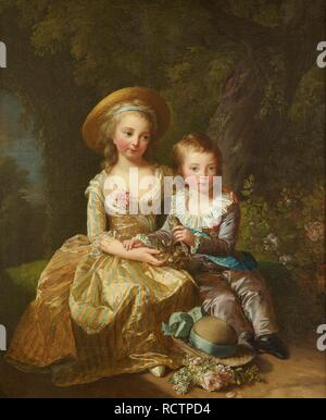 Portrait of Madame Royale and Louis-Joseph Xavier, Dauphin of France. Museum: Musée de l'Histoire de France, Château de Versailles. Author: Vigée-Lebrun, Marie Louise Elisabeth. - Stock Photo