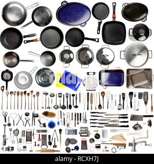 Various kitchen appliances, cooking tools and utensils - Stock Photo