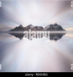 Vestrahorn mountain reflections, Stokksnes Peninsula, Iceland - Stock Photo