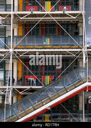 Close-up of the Pompidou Centre, Beaubourg, Paris, France, showing the external walkways, escalator and services - Stock Photo