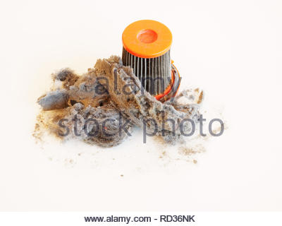 Dirty clogged vacuum cleaner filter isolated on white - Stock Photo