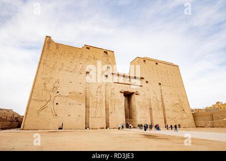 The front of Horus Temple Edfu (Idfu / Edfou) near Luxor in Egypt - Stock Photo