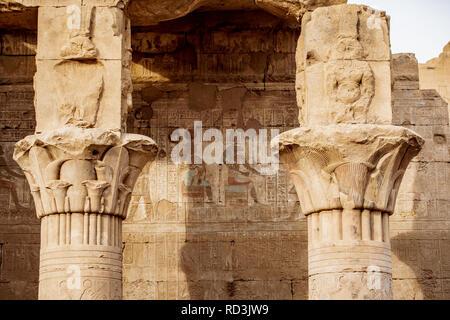 Ancient hieroglyphics still visible in colour on the exterior of Edfu Temple near Luxor Egypt - Stock Photo