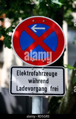 No parking, reserved car park with charging station for electric cars in downtown Gelsenkirchen, North Rhine-Westphalia - Stock Photo