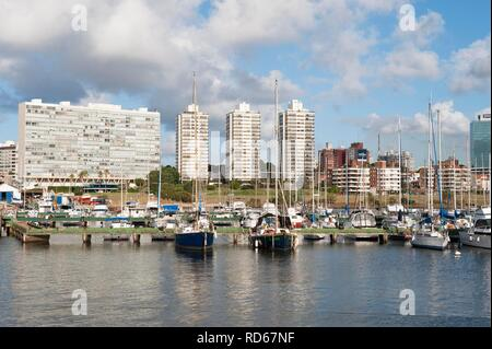 Marina of Montevideo and the skyline, Uruguay, South America - Stock Photo
