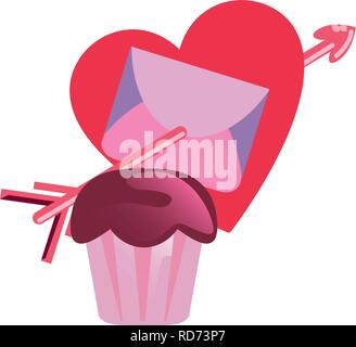 sweet cupcake mail love happy valentines day vector illustration - Stock Photo