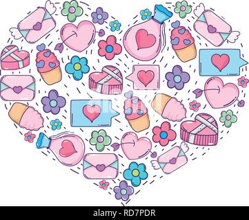 heart with valentines day icons - Stock Photo
