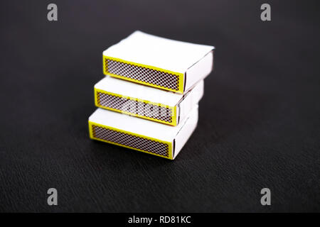 Portrait of match box. Isolated on the black background. - Stock Photo