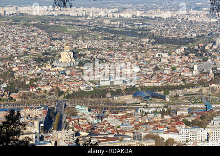 View from above on Tbilisi, the sights of Tbilisi from a height. April 17, 2015 - Stock Photo