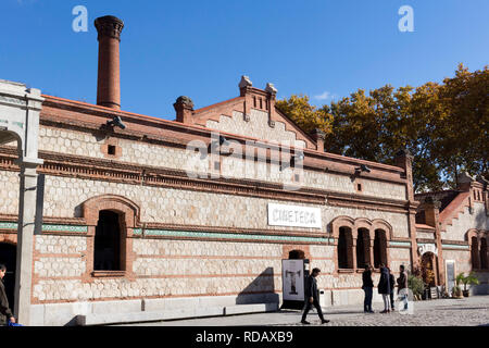 Madrid, Spain - November 23, 2018:  Matadero Madrid, cultural center, Cineteca Pavilion, Arganzuela district. The industrial architecture of Matadero - Stock Photo