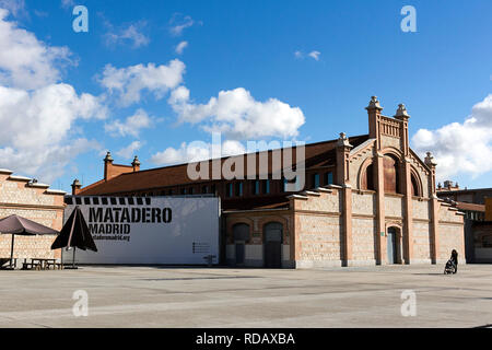 Madrid, Spain - November 23, 2018:  Matadero Madrid, cultural and art center created by the city in 2006. The industrial architecture of Matadero Madr - Stock Photo