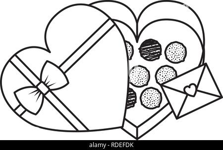 envelope with heart and chocolate box - Stock Photo