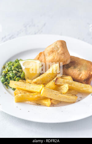 Portion of fish and chips - Stock Photo