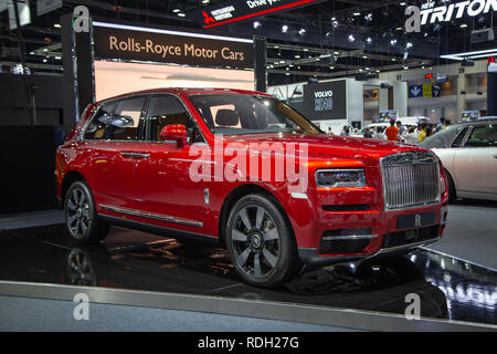 Nonthaburi, Thailand - December 4, 2018: Rolls Royce Cullinan luxury SUV presented in Motor Expo 2018 - Stock Photo