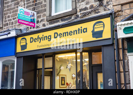 Defying Dementia, fundraising and charitable shop in Lancaster to assist with this illness,Lancashire,England - Stock Photo