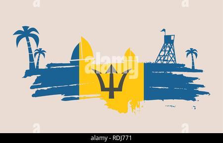 Vintage seaside view poster. - Stock Photo