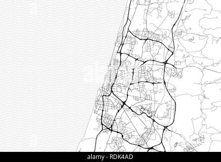 Area map of Tel Aviv, Israel. This artmap of Tel Aviv contains geography lines for land mass, water, major and minor roads. - Stock Photo