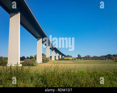 The Ruhrtal Bridge in Mulheim-Mintard (Mintarder Ruhrtalbrücke) is the longest steel-bridge in Germany, connecting Essen and Dusseldorf via motorway A - Stock Photo