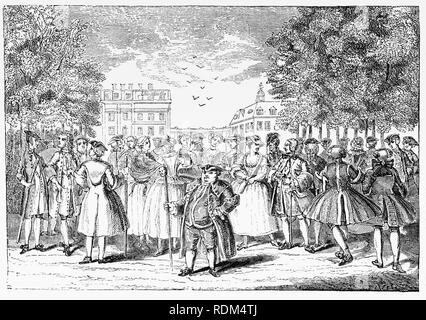 During the 18th Century, Alamode, was once the name for a fabric, but in this case meant 'in the fashion'. The gentry promenading in 1735 through St James Park in the City of London, England. - Stock Photo