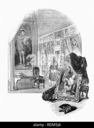 Sir Roger de Coverley, the fictional character, devised by Joseph Addison, who portrayed him as the ostensible author of papers and letters that were published in Addison and Richard Steele's influential periodical The Spectator. Seen here showing  the 'Spectator',  his ancestors in the picture Gallery, Sir Roger was a baronet of Worcestershire and represented a typical landed country gentleman. He was also a member of the fictitious Spectator Club, and the de Coverley writings included 18th-century English life that were often considered The Spectator's best feature. - Stock Photo