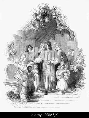 Sir Roger de Coverley, the fictional character, devised by Joseph Addison, who portrayed him as the ostensible author of papers and letters that were published in Addison and Richard Steele's influential periodical The Spectator. Seen here leaving his local church, Sir Roger, a baronet of Worcestershire and  typical landed country gentleman enquires after the welfare of his tenants. He was also a member of the fictitious Spectator Club, and the de Coverley writings included entertaining vignettes of early 18th-century English life that were often considered The Spectator's best feature. - Stock Photo