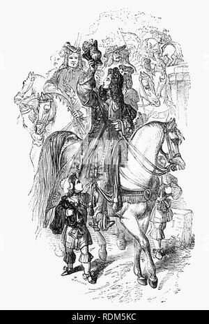 Sir Roger de Coverley, the fictional character, devised by Joseph Addison, who portrayed him as the ostensible author of papers and letters that were published in Addison and Richard Steele's influential periodical The Spectator.  Sir Roger was a baronet of Worcestershire and was meant to represent a typical landed country gentleman, indeed becoming County Sheriff. He was also a member of the fictitious Spectator Club, and the de Coverley writings included entertaining vignettes of early 18th-century English life that were often considered The Spectator's best feature. - Stock Photo