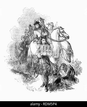 Sir Roger de Coverley, the fictional character, devised by Joseph Addison, who portrayed him as the ostensible author of papers and letters that were published in Addison and Richard Steele's influential periodical The Spectator.  Sir Roger was a baronet of Worcestershire and was meant to represent a typical landed country gentleman, seen here saving a hare whilst out hunting. He was also a member of the fictitious Spectator Club, and the de Coverley writings included entertaining vignettes of early 18th-century English life that were often considered The Spectator's best feature. - Stock Photo