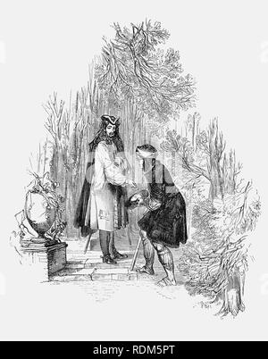 Sir Roger de Coverley, the fictional character, devised by Joseph Addison, who portrayed him as the ostensible author of papers and letters that were published in Addison and Richard Steele's influential periodical The Spectator.  Sir Roger was a baronet of Worcestershire and represented a typical landed country gentleman, perhaps with a social concience he's as seen here giving money. He was also a member of the fictitious Spectator Club, and the de Coverley writings included entertaining vignettes of early 18th-century English life that were often considered The Spectator's best feature. - Stock Photo