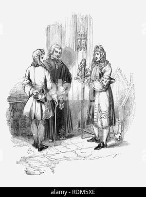 Sir Roger de Coverley, the fictional character, devised by Joseph Addison, with the 'Spectator' and King Edward III's sword in Westminster Abbey, who was portrayed as the ostensible author of papers and letters that were published in Addison and Richard Steele's influential periodical The Spectator.  Sir Roger was a baronet of Worcestershire and was a typical landed country gentleman He was also a member of the fictitious Spectator Club, and the de Coverley writings included entertaining vignettes of early 18th-century English life that were often considered The Spectator's best feature. - Stock Photo