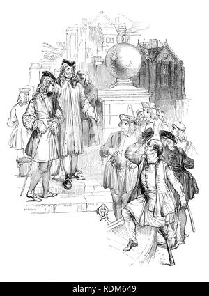 Sir Roger de Coverley, the fictional character, devised by Joseph Addison, at theTemple steps where he selects a one-legged boatman to take him to Vauxhall.  He was portrayed as the ostensible author of papers and letters that were published in Addison and Richard Steele's influential periodical The Spectator.  Sir Roger was a baronet and  a typical landed country gentleman He was also a member of the fictitious Spectator Club, and the de Coverley writings included entertaining vignettes of early 18th-century English life that were often considered The Spectator's best feature. - Stock Photo