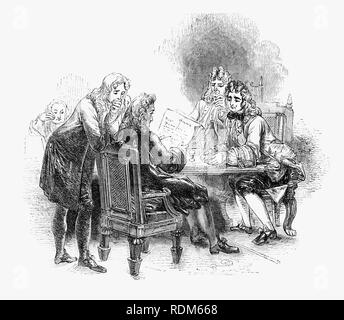 The death of Sir Roger de Coverley, the fictional character, devised by Joseph Addison announced at his club.  He was portrayed as the ostensible author of papers and letters that were published in Addison and Richard Steele's influential periodical The Spectator.  Sir Roger was a baronet of Worcestershire and was meant to represent a typical landed country gentleman He was also a member of the fictitious Spectator Club, and the de Coverley writings included entertaining vignettes of early 18th-century English life that were often considered The Spectator's best feature. - Stock Photo