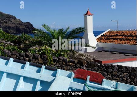 Boat in Maia on the island of Santa Maria, Azores, Portugal - Stock Photo