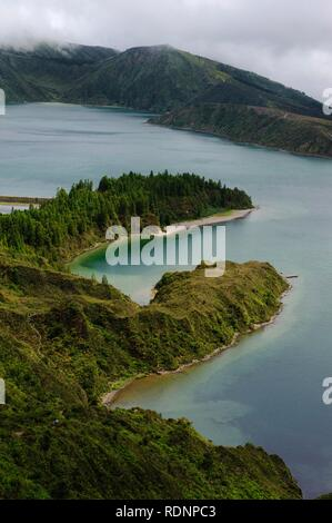 Crater lake Lagoa do Fogo on the island of Sao Miguel, Azores, Portugal - Stock Photo