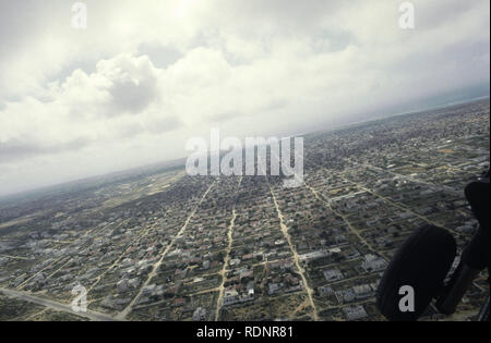 12th October 1993 Aerial view of Mogadishu, Somalia, as seen from a U.S. Army Sikorsky UH-60 Black Hawk helicopter. - Stock Photo