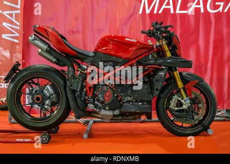 Malaga, Spain - May 20, 2018. Ducati motorcycle at the Expo Salon Moto & Bike Andalucía, Malaga city, Spain - Stock Photo