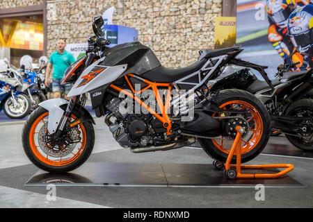 Malaga, Spain - May 20, 2018. KTM motorcycle at the Expo Salon Moto & Bike Andalucía, Malaga city, Spain - Stock Photo