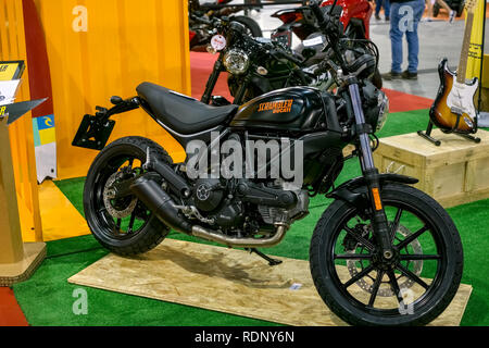 Malaga, Spain - May 20, 2018. The Ducati Scrambler is a L-twin engined standard or roadster motorcycle made by Ducati presented at Salon Moto & Bike A - Stock Photo