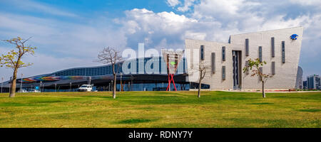 Malaga, Spain - May 20, 2018. Trade Fair and Congress Center of Malaga, Spain. This building has a total area of 60,000 m2, of which 17,000 m2 are ded - Stock Photo