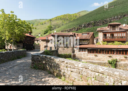 Barcena Mayor, Cabuerniga valley, with typical stone houses is one of the most beautiful rural village in Cantabria, Spain. - Stock Photo