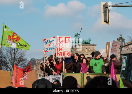 Berlin, Germany - January 19, 2019: Demonstration 'Wir haben es satt', against the german and EU agricultural policy and for sustainable agriculture in Berlin, Germany Credit: hanohiki/Alamy Live News - Stock Photo