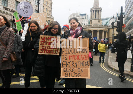 "London UK. 19th January 2019.  Hundreds of Protesters take part in the Women's march rally  in central London to support ""equality, justice and against violence. This year's march has been named the 'Bread and Roses' Rally, in commemoration of a speech delivered by American labour union leader Rose Schneiderman who addressed a women's suffrage  in 1911 Credit: amer ghazzal/Alamy Live News - Stock Photo"