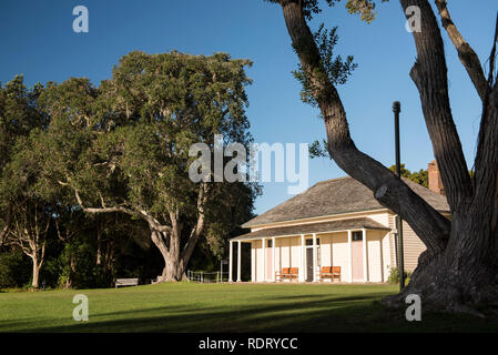 The Treaty House at he Waitangi Treaty Grounds in the Bay of Islands, North Island, New Zealand. - Stock Photo